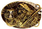 24ct. Gold and silver Plated Sands Of Time Grim Reaper Belt Buckle with display stand.Code KG5